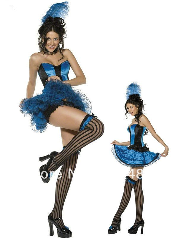 adult halloween can can dancer costume includes blue corset top blue skirt matching panties feather head piece garters - Can Can Dancer Halloween Costume