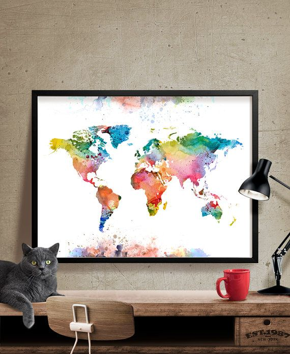 The Best Easel Diesel Images On Pinterest Easel Easels And - Colorful world map painting