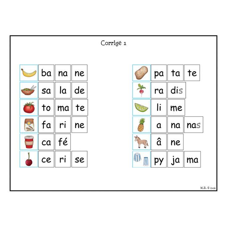 Les syllabes : les syllabes simples - mettre les syllabes ...