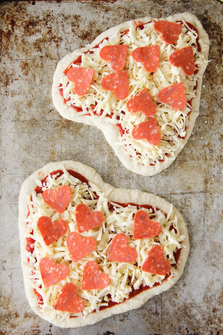 Valentine's Day Heart Shaped Pizzas