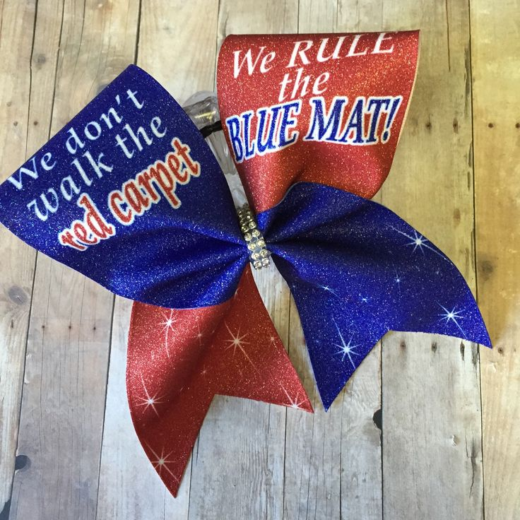 We dont walk the red carpet we rule the blue mat bow, cheer bow, cheerleader, cheerleading, custom bow, big cheer bow - pinned by pin4etsy.com