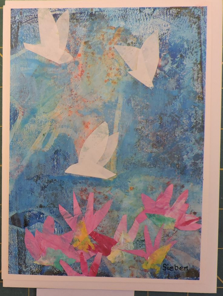 This small painting was done on photo paper for the background.  Then I collaged the the birds and the pink flowers from painted rice paper.  When done, it was cropped and glued to card stock.
