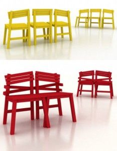 Una sedia che può unirsi per diventare una seduta per due.Realizzate da Tjep le sedie sono disponibili in diversi colori e sono disposte nel seguente modo: una sedia centrale e due laterali inclinate diversamente.Le due sedie all'estremità possono essere agganciate l'una all'altra tramite due assi da posizionare sul retro dello schienale.