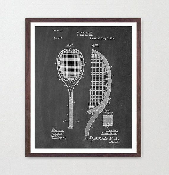 Tennis Poster  Tennis Racquet  Tennis Art  by WunderKammerEditions