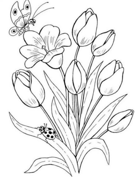 Menakjubkan 14 Gambar Dekoratif Mudah Hitam Putih Hewan Unsur Pelengkap Dari Lukisan Ini Adalah Dekora Flower Coloring Pages Flower Sketches Flower Pictures