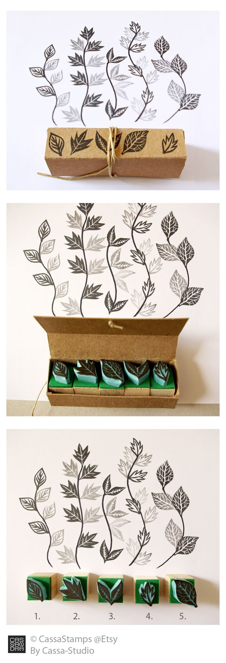 Miniature rubber stamps of leaves by CassaStamps #Etsy