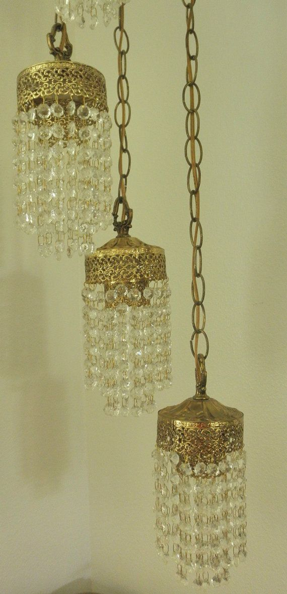 A Pair Of 5 Antique Brass Crystal Hangin Swag Lamp By
