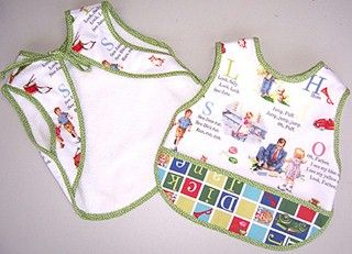 Fifties baby bib. It ties on to the baby and does not slip to the side, very useful.