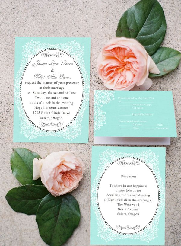 Printed Lace Tiffany Blue Themed Vintage Wedding Invitations