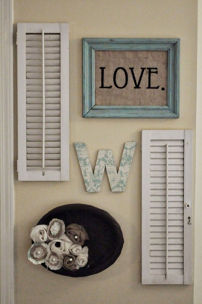 Simple wall arrangement using some plantation shutters.
