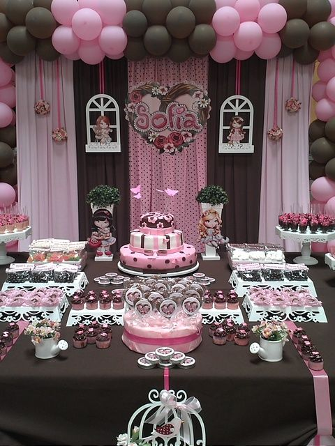 "Pink & Brown Dessert Table / Birthday ""Jolie for Sofia"" 
