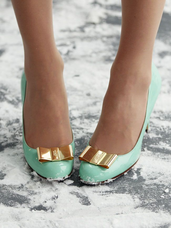 kate spade mint gold bow heels