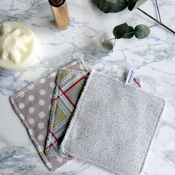 Grands carrés doux lavables gris - Soin visage - soin corps - Pour maman - bébé - Ecologique - Bien être - Economique - Réutilisable