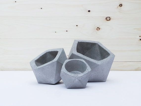 Set of 3: Geometric Concrete Planters by IndustrialRepublic