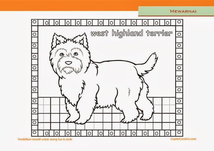 lembar kerajinan anak paud (balita/TK/SD), mewarnai anjing terrier