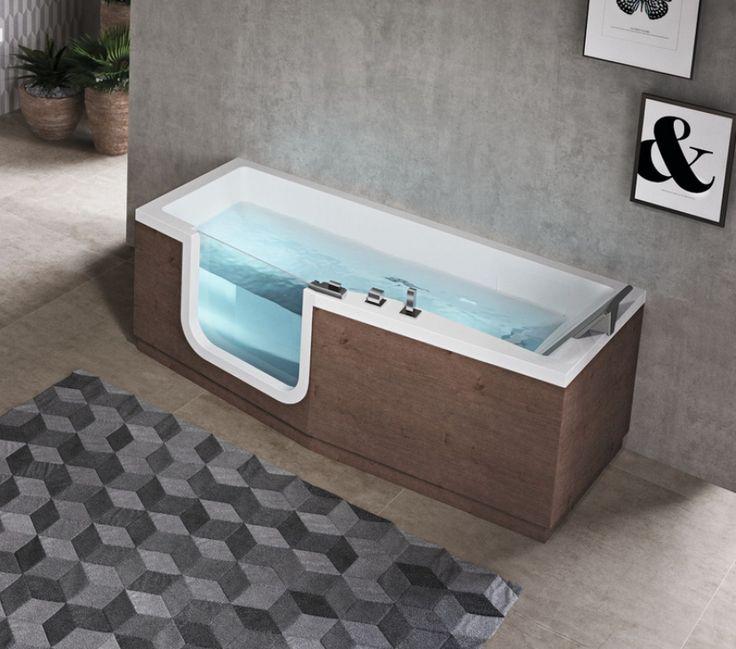 Cette baignoire Iris de chez Novellini en version standard est dotée d'une porte afin de faciliter l'utilisation de la baignoire pour les personnes à mobilité réduite. #baignoire #balnéo #novellini #pmr