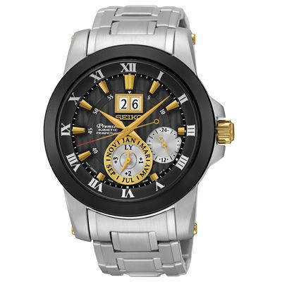 Men's Seiko Perpetual Calendar Kinetic Watch with Black Dial (Model: SNP129)Item # 20017289Now $637.50Orig.$850.00