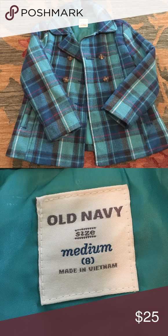 Old Navy girls peacoat Cute teal plaid girls peacoat. Gently worn no damage Old Navy Jackets & Coats Pea Coats
