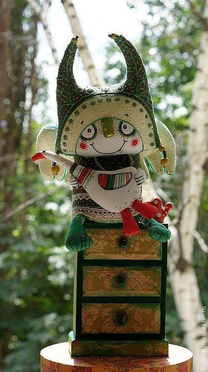 """Купить Авторская кукла """"Огородные дела"""" - авторская кукла, текстильная кукла, огород, зеленый, гусь"""