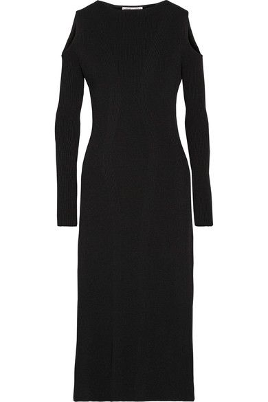 Barbara Casasola - Cold-shoulder Ribbed Stretch-knit Midi Dress - Black - IT40