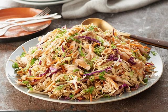 Asian-Chicken-Noodle-Salad With roasted chicken from store this will be easy and yummy.