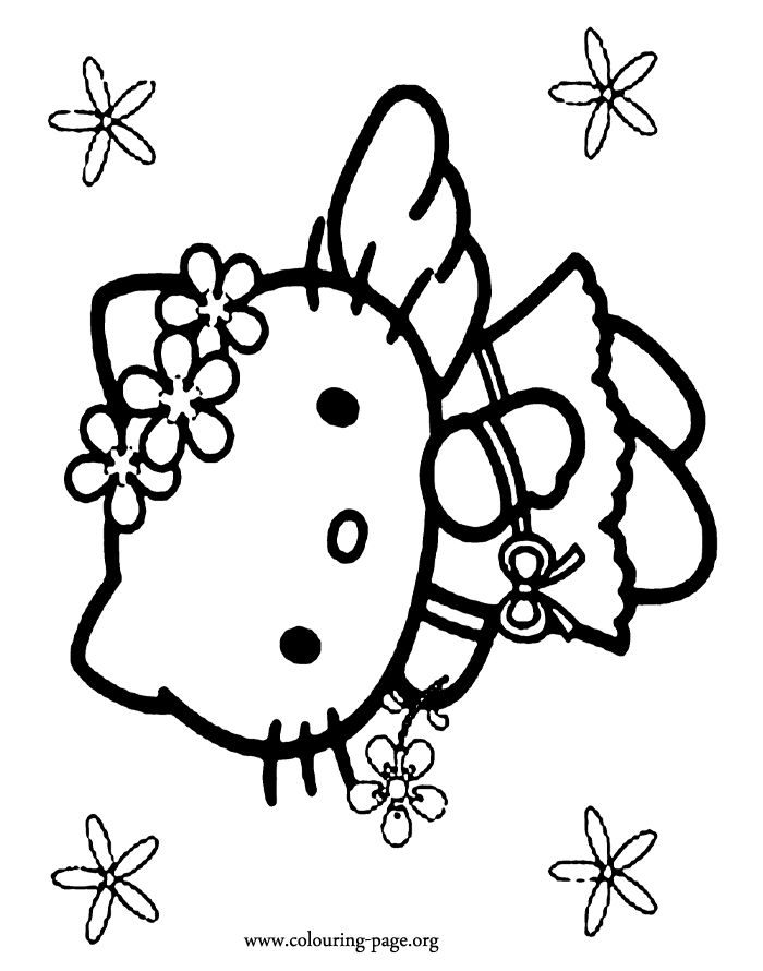 in this awesome picture hello kitty is dressed as an angel how about to - Kitty Doctor Coloring Pages