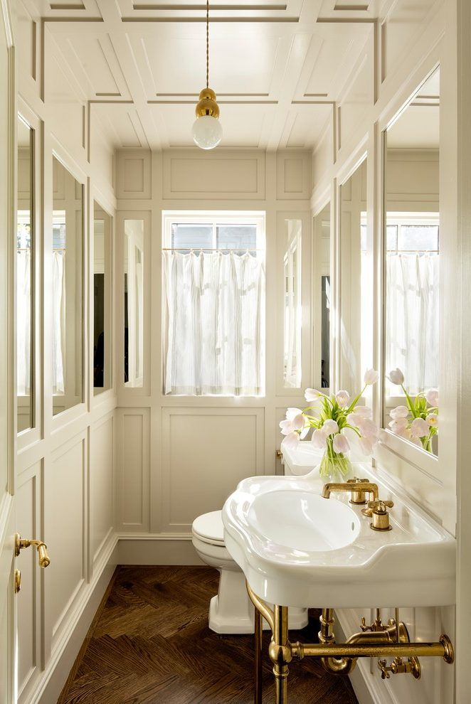 Portland Branch Light Fixture Home Powder Room Transitional With Brass Fixtures Freestanding
