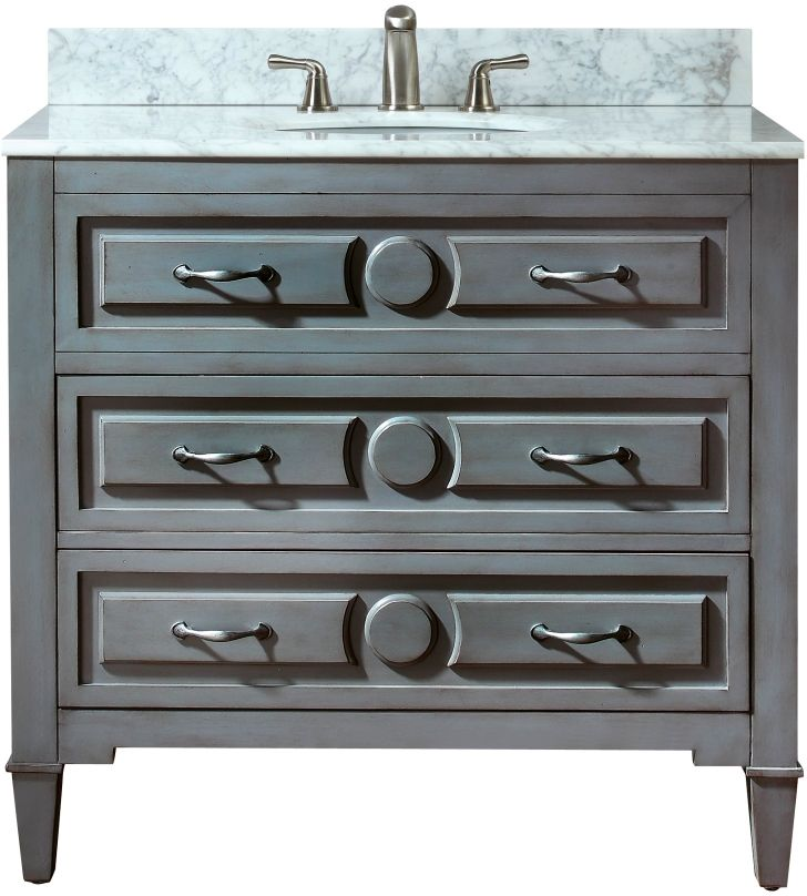 avanity kelly 36 inch vanity with carrera white marble top in grayish blue finish home depot canada