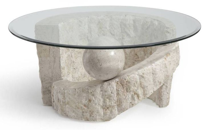 Ponte Vedra Opulence Natural Mactan Stone Glass Round Cocktail Table Round Glass Coffee Table Stone Coffee Table Round Cocktail Tables