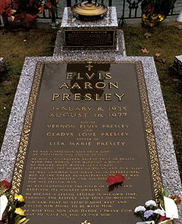 Elvis Aaron Presley 1935-1977. Elvis has actually had two graves. A mausoleum in Forest Hills Cemetery in Memphis, Tenn.  He was moved along with his mother Gladys to Graceland.  Too many fans were tampering with his grave in Forest Hills.