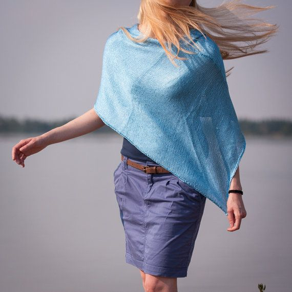 Summer Light Blue Poncho Hand Knitted Poncho inn by RUKAMIshop