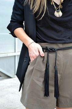 Braided leather belt to help pull your look together.