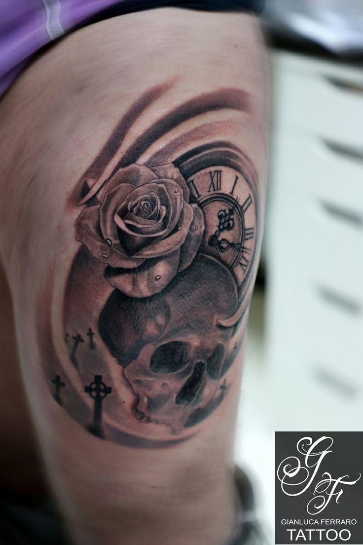 #tattoo #skull #rose #clock #cemetery #realistic  #passion #love #gianlucaferrarotattoo  #tatuaggi #italy #naples #art #artist #atwork  #ink #beautiful #happy #like #biancoenero #blackewhite #blackandgrey #realism #teschio #orologio #tempo #time #rosa #cimitero #realistico #croci #cross #fineart #freehand #cranial #cranio #morte #death