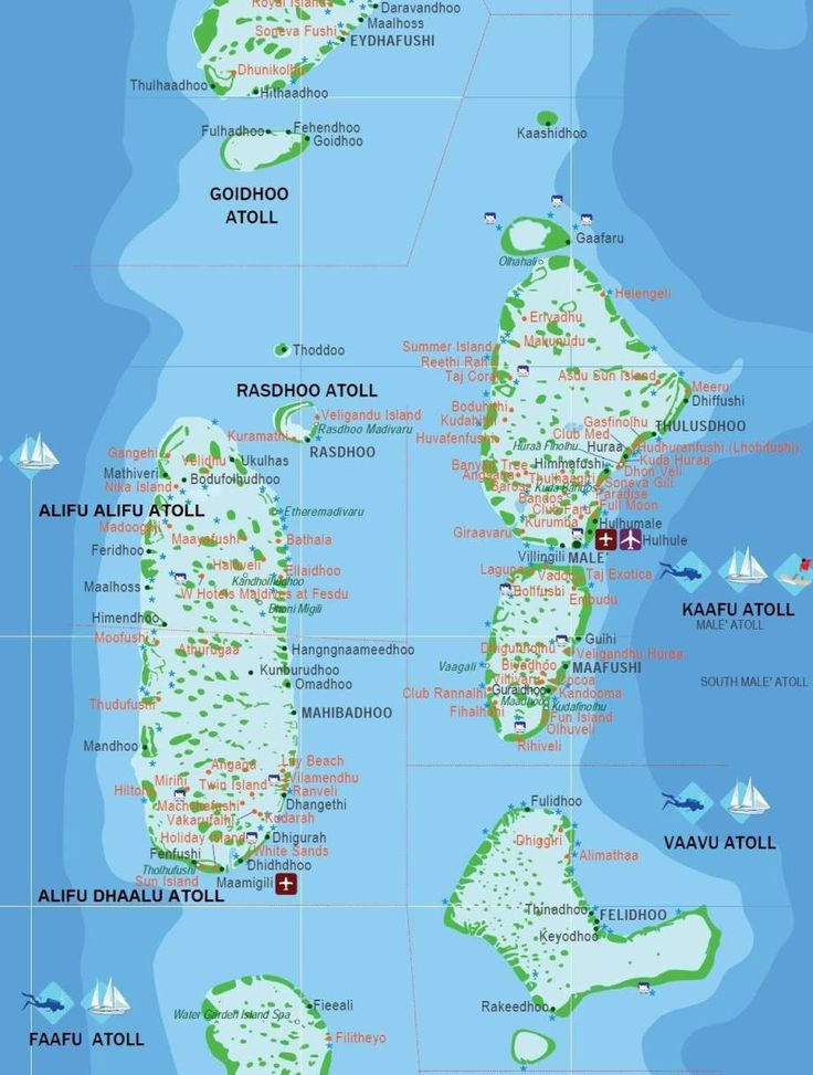 This Map of Maldives includes all resorts