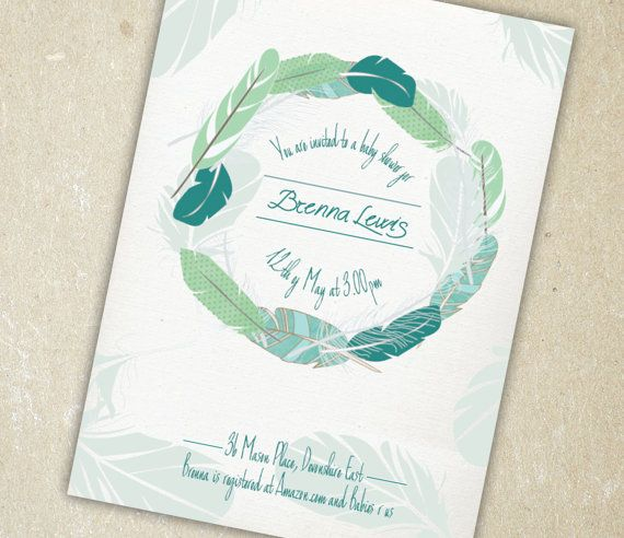 Baby Shower Invitation  Delicate Feathers in by SixDaysCreations