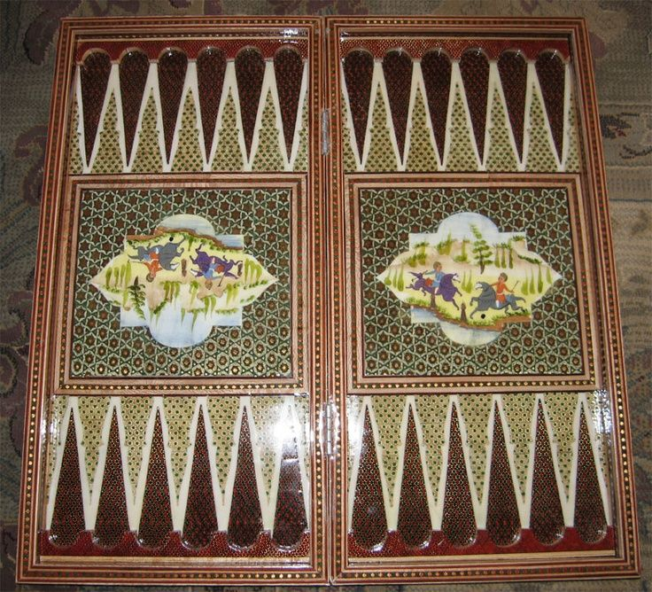 Persian Backgammon Board, With Miniature Painting
