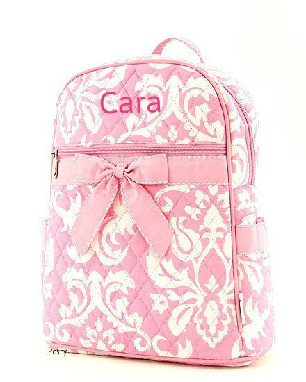 Personalized Kid Backpacks in Pink Damask with ribbon by PoshyKids, $27.00