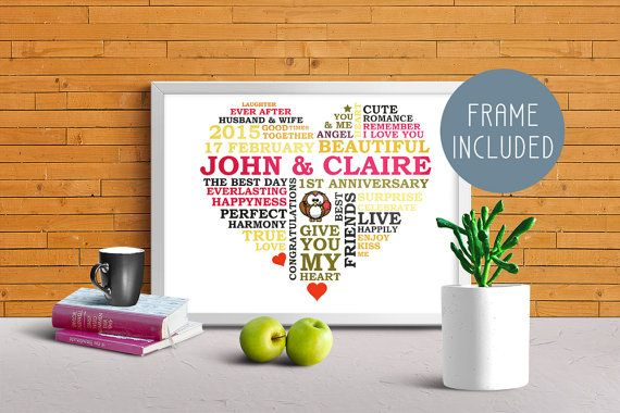Gifts for Wedding, Anniversary Gift, Wedding Gift, Personalized Word Art, Gift for Wife, Wall Art, Gift Ideas Engagement, FRAME Included