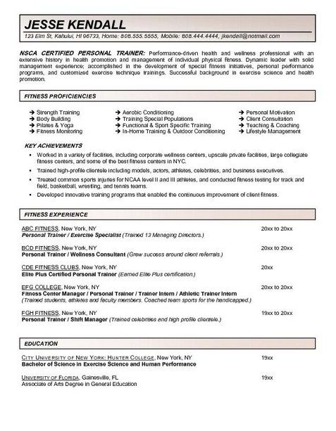 Personal Trainer Resume Work Experience - http://topresume.info/personal-trainer-resume-work-experience/