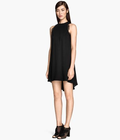 Sleeveless black dress with lace trim on armholes | H&M GB