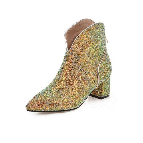 Zapatos - $76.62 - Zapatos Botas Botas al tobillo Tacón ancho Brillo Chispeante (1625107184)