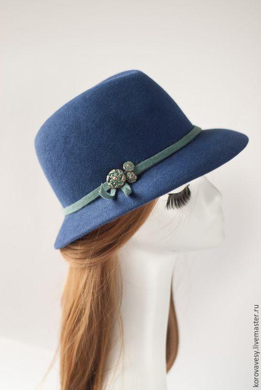 """Купить Шляпа- федора """" Сапфировая"""" - синий, однотонный, женская шляпа, федора, шляпа с полями"""