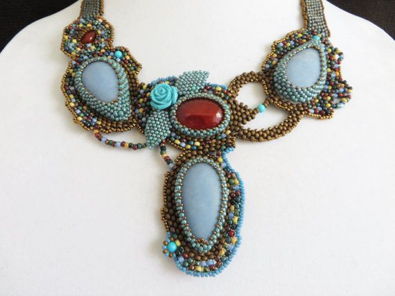 Angelite Cabochon Bead Embroidery Necklace Free by KayhandaJewelry