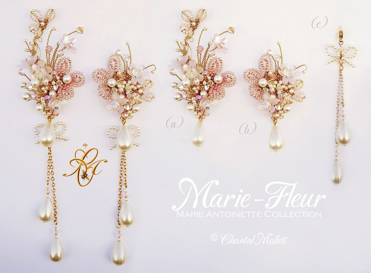 Marie-Fleur earrings. Opulant, extravagant, hand made, special occasion earrings inspired by Marie Antoinette.  Various options available. #marieantoinette #weddingearrings