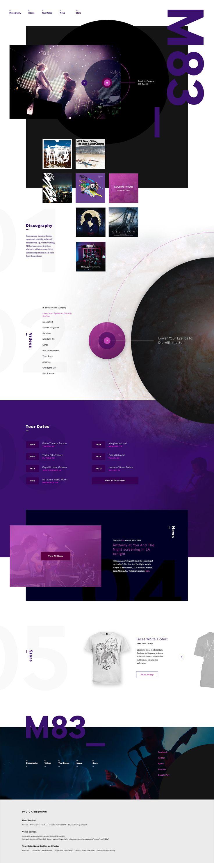 M83. Music web design. Portfolio for a singer or band.