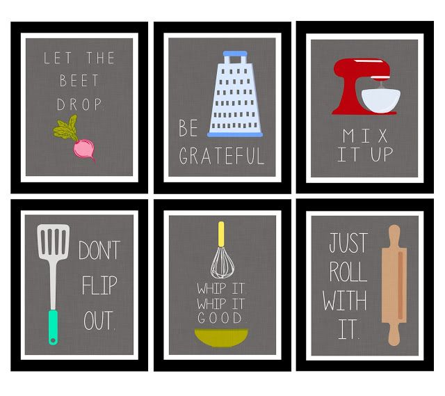 Cute kitchen printables. Need to find a way to make these into something cute for a tea towel or something