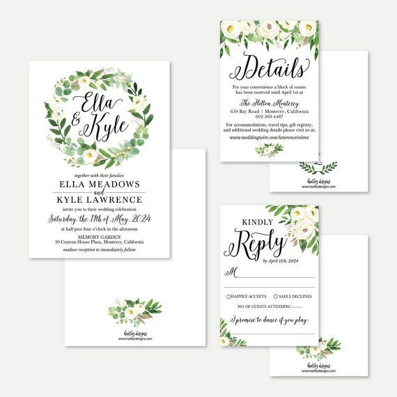 Print Your Own Wedding Invitations: Greenery Wreath Wedding Invitation, RSVP, And Details Set