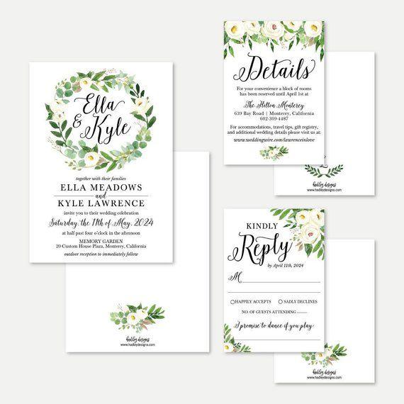 Cheap Online Wedding Invitations: Greenery Wreath Wedding Invitation, RSVP, And Details Set
