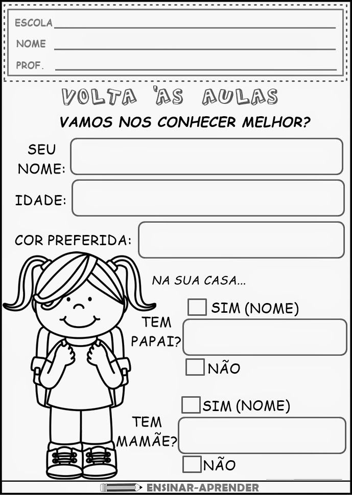 ATIVIDADES DE VOLTA ÀS AULAS