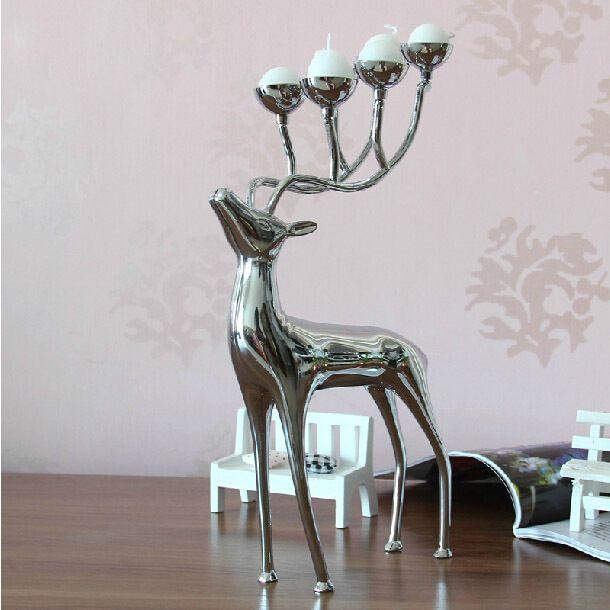 Luxuoso cervos manchados castiçais castiçal de aço inoxidável candelabros castiçais para o casamento